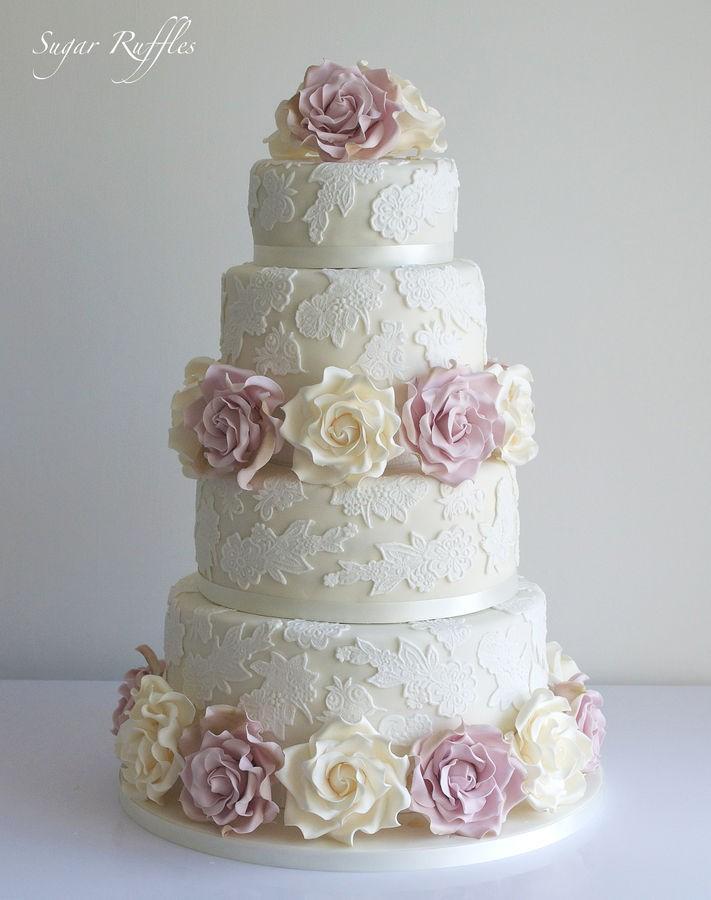 Matrimonio Tema Sogno : Bolo rendado com açúcar delicadeza em seu casamento