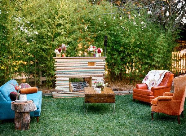 decoração de jardim para casamentos - Só não esqueça que o diferencial de um lounge é a riqueza de detalhes. Isso só torna o ambiente mais aconchegante!