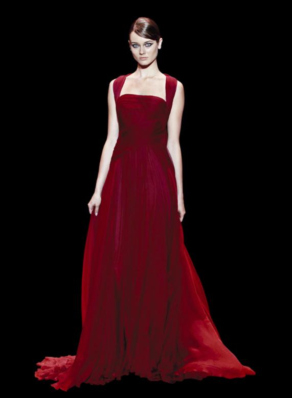 O rubi é um tom sóbrio e sofisticado, perfeito para qualquer convidada - vestidos para convidadas de casamento Elie Saab