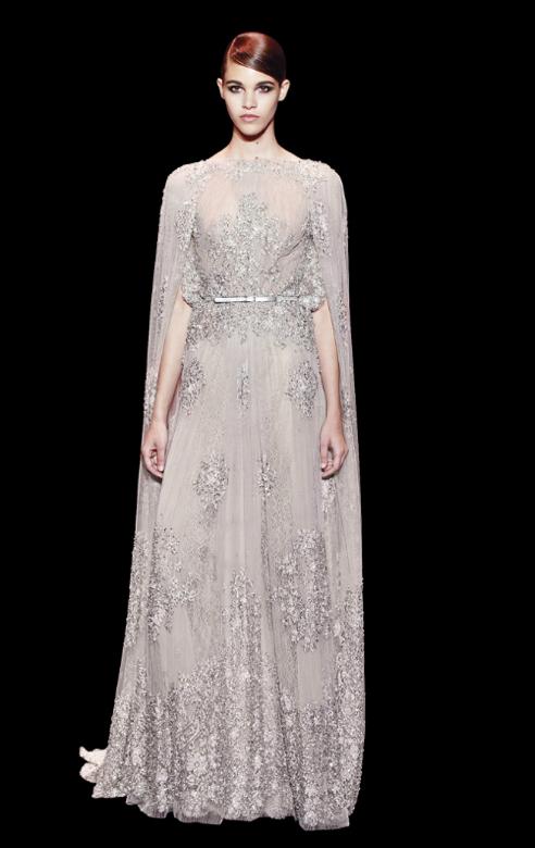 Transparências também foram usadas na coleção - vestidos para convidadas de casamento Elie Saab
