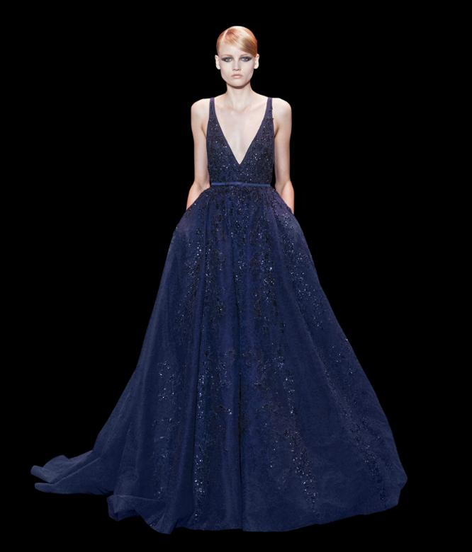 Decotes ousados desafiam o tom clássico do modelo - vestidos para convidadas de casamento Elie Saab