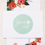 Convite de casamento em verde menta com branco e tons fortes