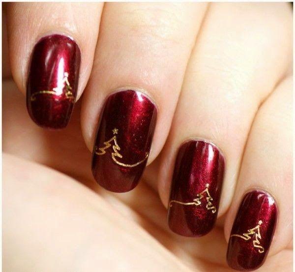 Vermelho e dourado dão uma linda combinação para nail art em suas unhas de Natal!