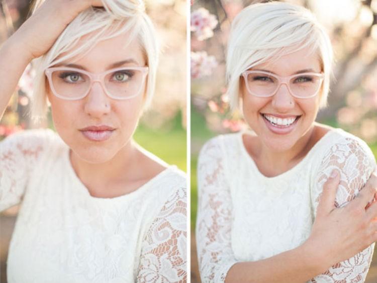 22596e993e24e Para noivas que querem casar de óculos, mas querem um look discreto,  armações claras