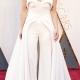 Lady Gaga vestiu Brandon Maxwell, com um look que combina calça e vestido. Ficaria perfeito para um casamento civil!
