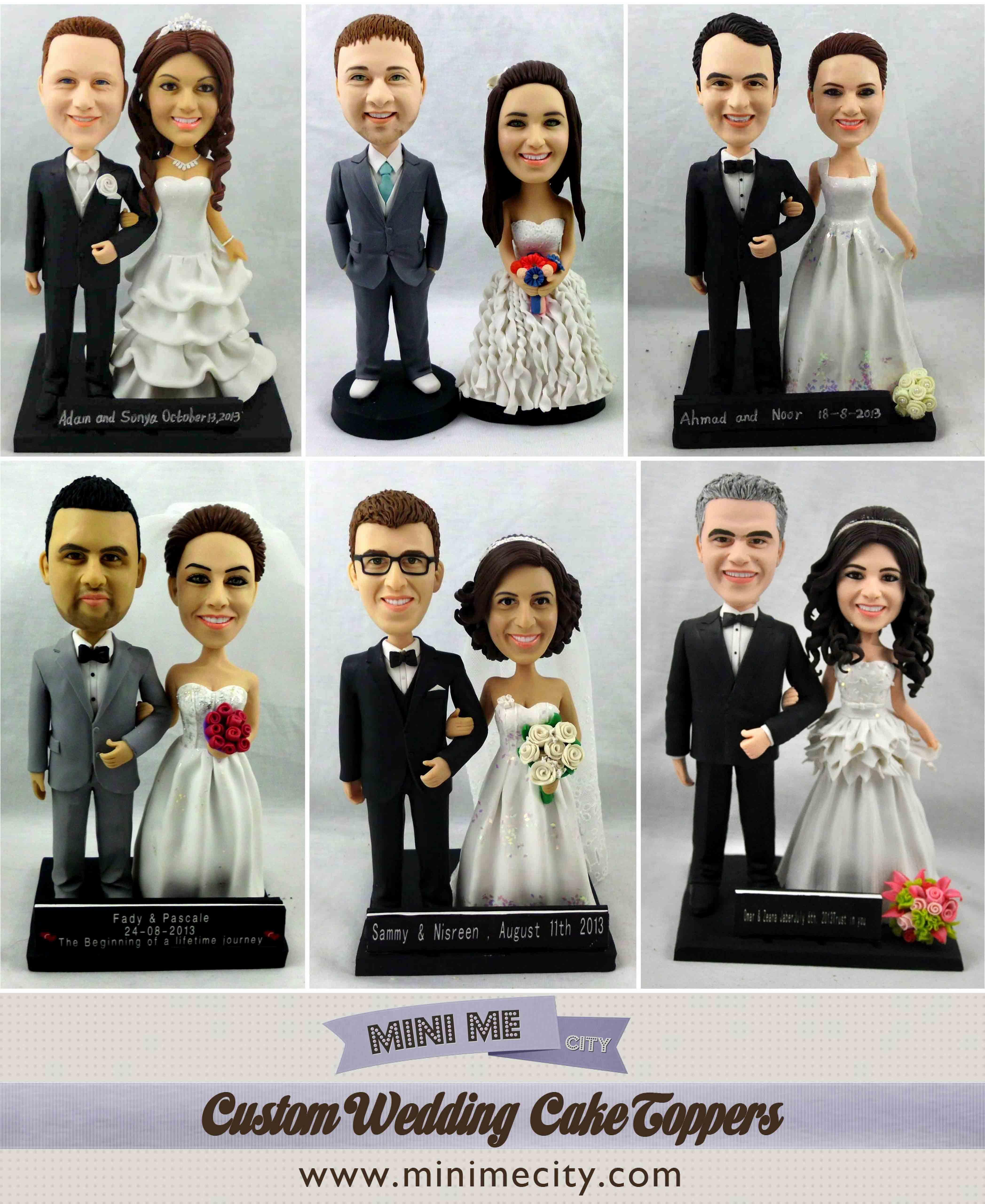 Muñecos con la cara de los novios para el paste de bodas!