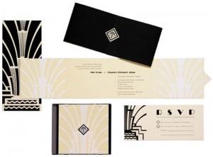 Tarjetas de casamiento para tema Art Deco
