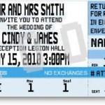 invitaciones de boda originales en forma de ticket