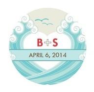 calcomanías de casamiento - Calcomanía con las iniciales de los novios y fecha de casamiento