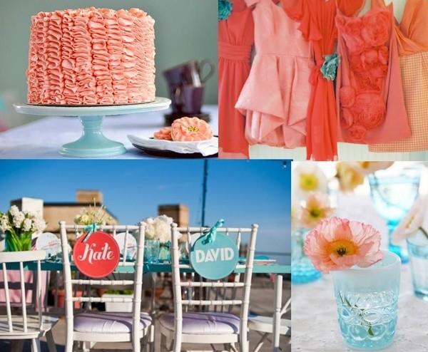 Boda civil en ideas para un almuerzo en coral y turquesa