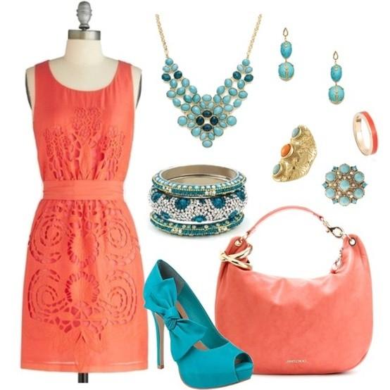 Vestidos Boda Civil. Un bello conjunto diseñado para lucir el coral y turquesa