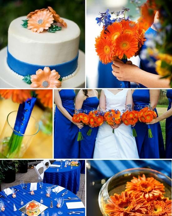 Como decorar bodas en azul y naranja