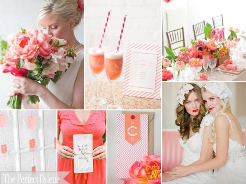 Como decorar bodas románticas con coral y rosa