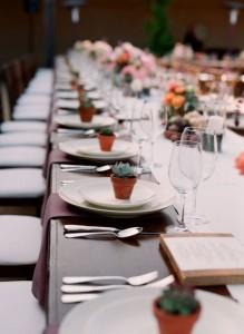 Flores para Bodas - Suculentas como decoración de mesas
