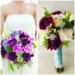Ramo de flores violetas amarillas y verdes