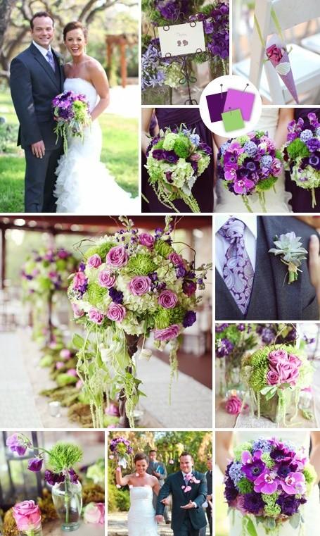 Los colores elegidos para ambientar esta boda son lila verde y violeta