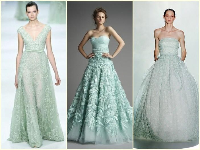 fotos de trajes de novia en verde menta