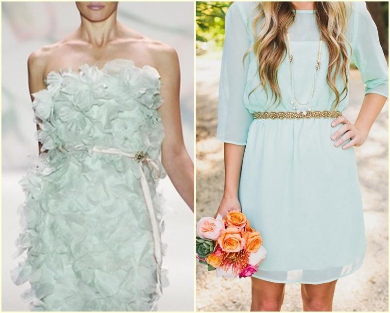 vestidos de novia cortos en verde menta