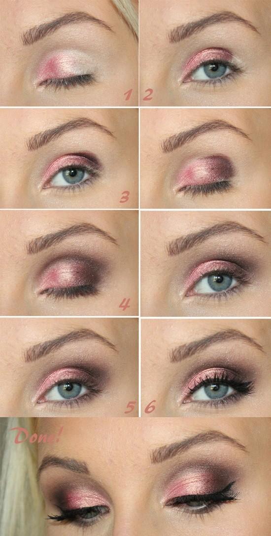 Maquillaje de ojos paso a paso con colores rosa y cafe