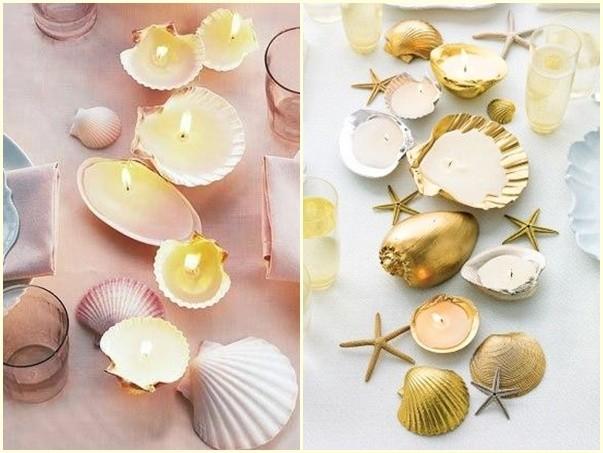 Souvenirs de boda con conchas de mar y parafina