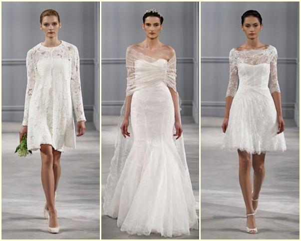 Tres ,odelos de la nueva colección de vestidos de novia 2014 de Monique Lhuiller