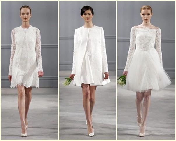 Tres vestidos de novia cortos de Monique Lhuillier 2014