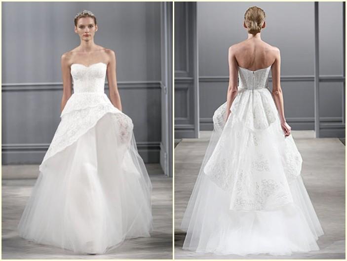 Monique Lhuillier - Corte peplum en vestidos de novia