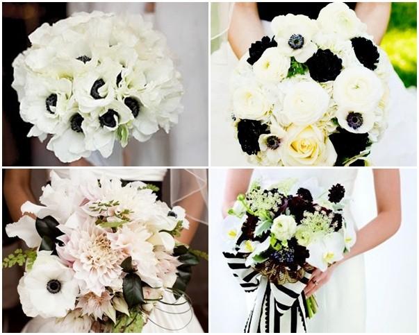 Ramos para bodas en blanco y negro