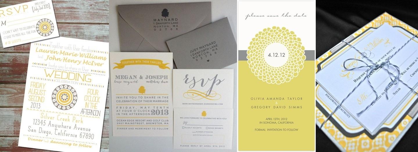 Ideas originales para bodas modernas: las tarjetas de invitación en amarillo y gris