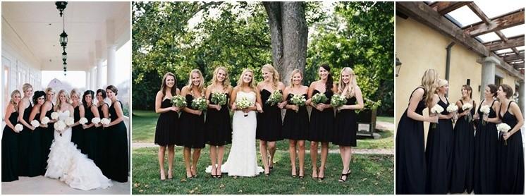 Damas de honor en blanco y negro