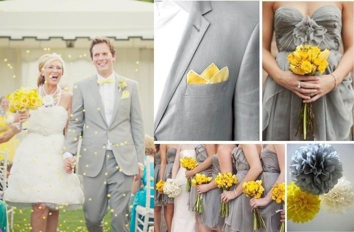 Decoracion En Gris Y Amarillo ~   para bodas modernas en amarillo y gris el look de los novios