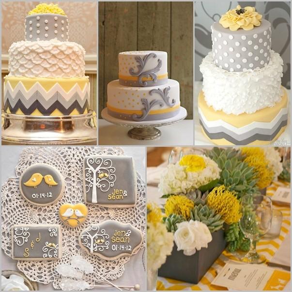 Pasteles y recuerdos de boda en amarillo y gris