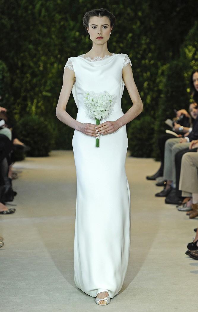 Vestidos de novia de CH columna en crepe de seda en tono hielo - Angelica