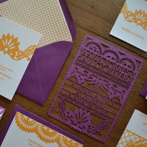 Invitaciones de bodas cortadas con láser al mejor estilo mexicano