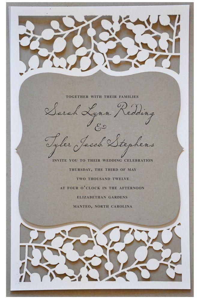 Invitaciones de bodas cortadas con láser: elegancia y glamour clásico