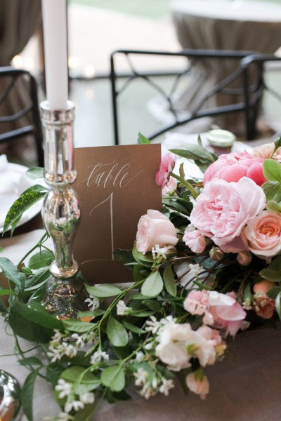 numeros de mesa romanticos con rosas