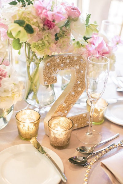 numeros para mesas en dorado con perlas