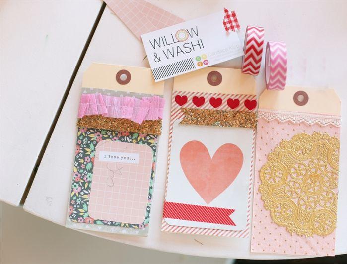 Etiquetas y sobres que puedes hacer junto con frases para San Valentín