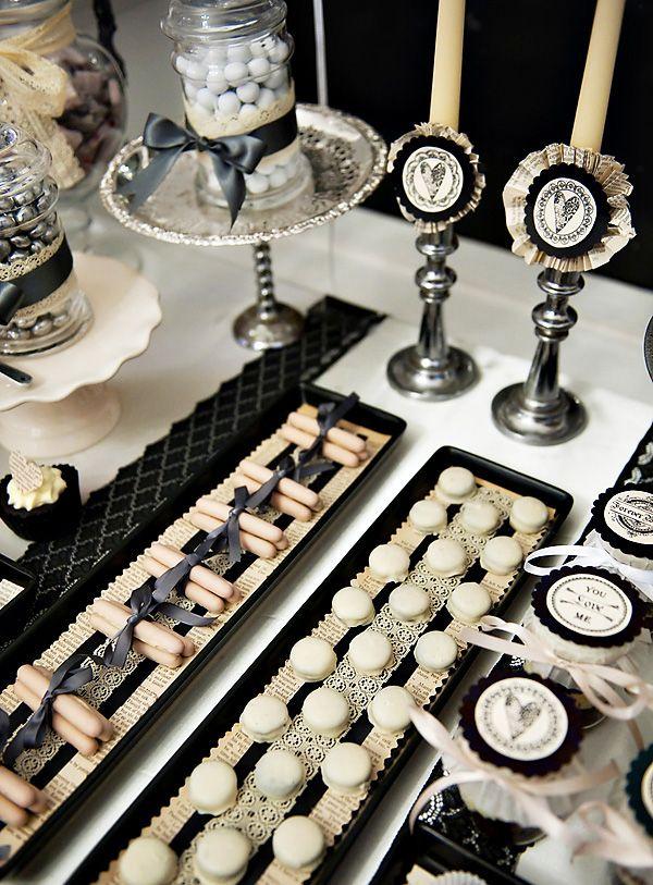 Que dicen los colores de bodas de ti? Mesa dulce en blanco y negro