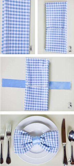 Para las bodas: servilletas con divertidas formas con un paso a paso muy fácil de seguir