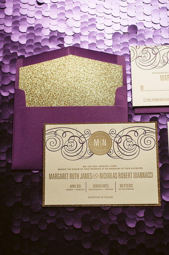 invitaciones de bodas en dorado