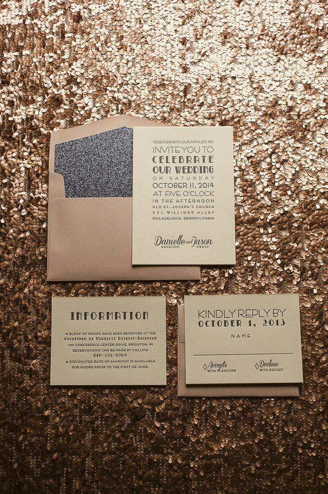 Tarjeta de bodas glitter