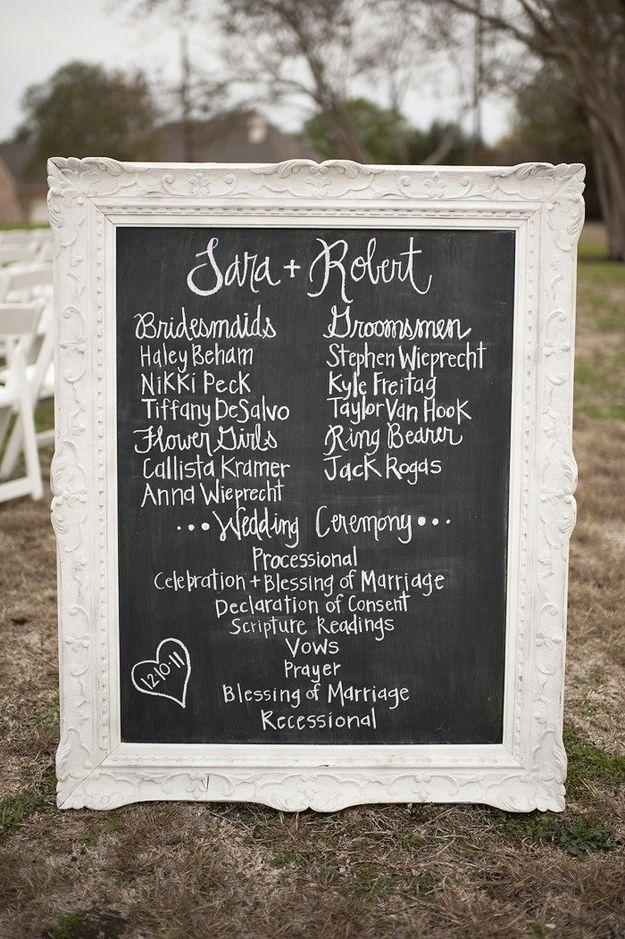 Manualidades para bodas: pizarras súper originales! Pizarra con el programa de la boda