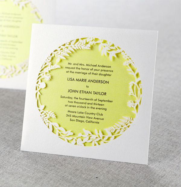 Otra variante de invitaciones de boda cortadas con láser