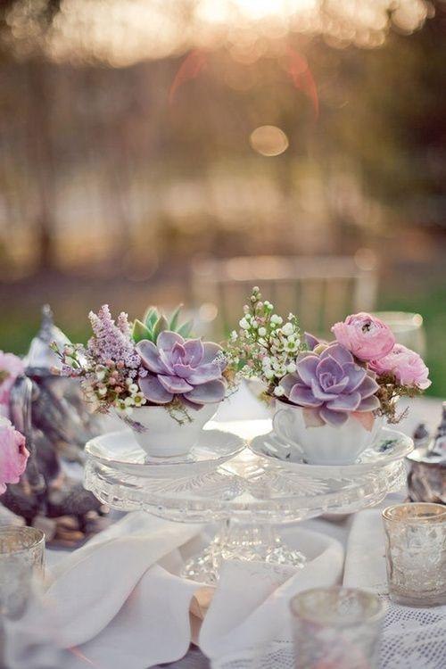 Centros de mesa para bodas con suculentas