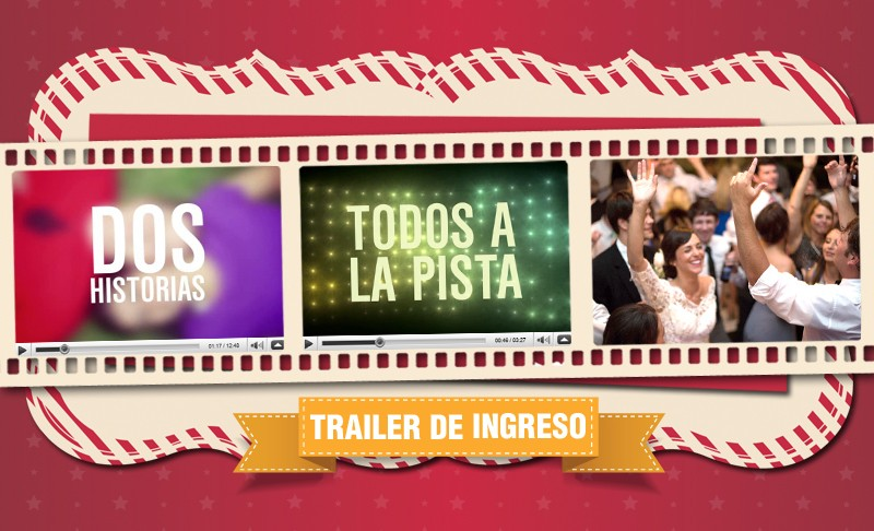 """Trailer de Ingreso, un video que hace levantar a los invitados de sus sillas interactuando con ellos, indicándoles entre otras cosas que reciban a los novios en la pista. Según palabras de los novios es el momento en el que """"explota la pista""""!"""