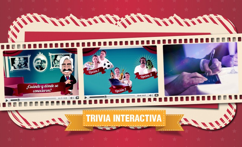 Trivia de Roberto, un juego interactivo con los invitados para evaluar qué mesa sabe más sobre la historia de los novios.