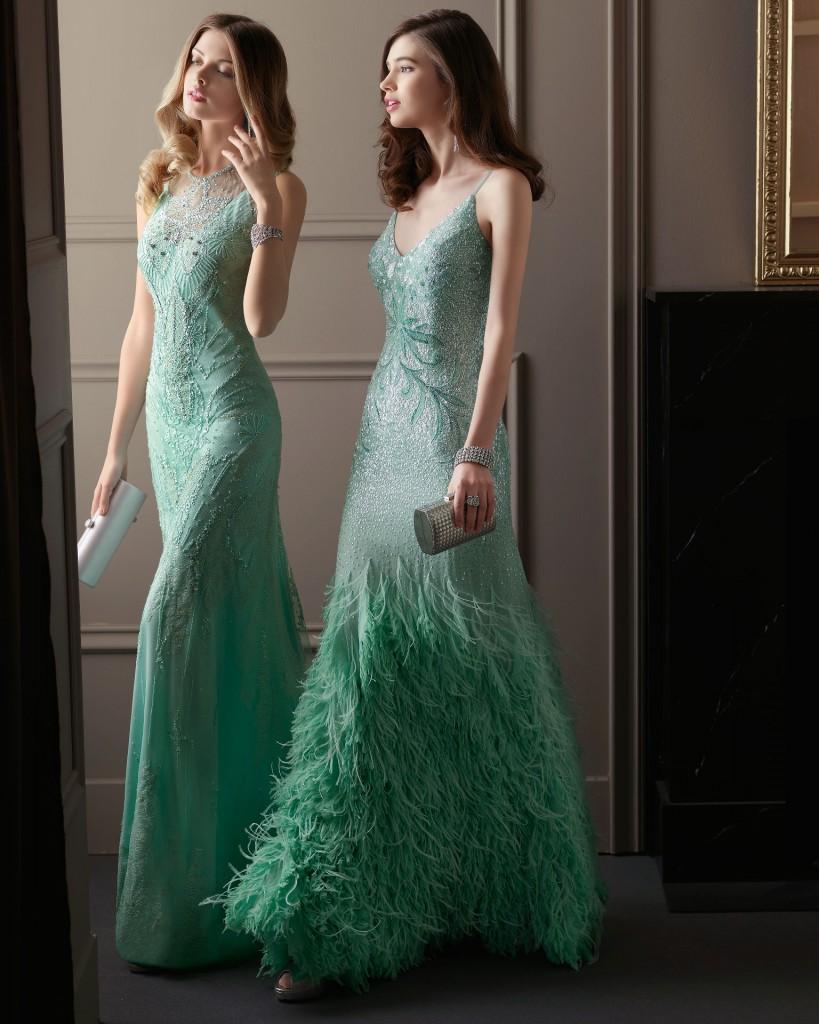 Vestidos para madrinas de boda en verde menta de Aire Barcelona