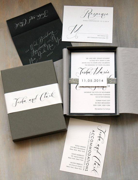 Invitaciones en cajita Black & White