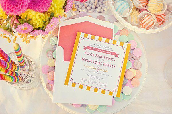 Invitación con dulces o confites